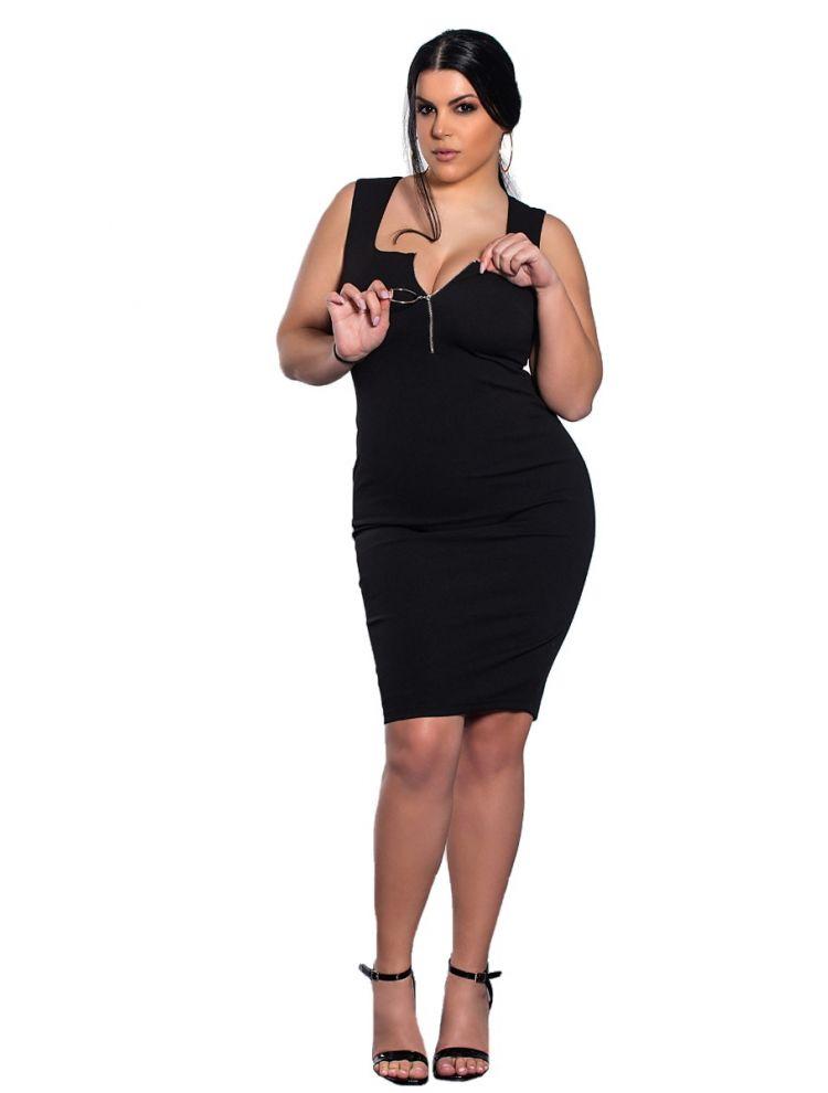 Μονόχρωμο midi φόρεμα με φερμουάρ-Μαύρο-L/XL