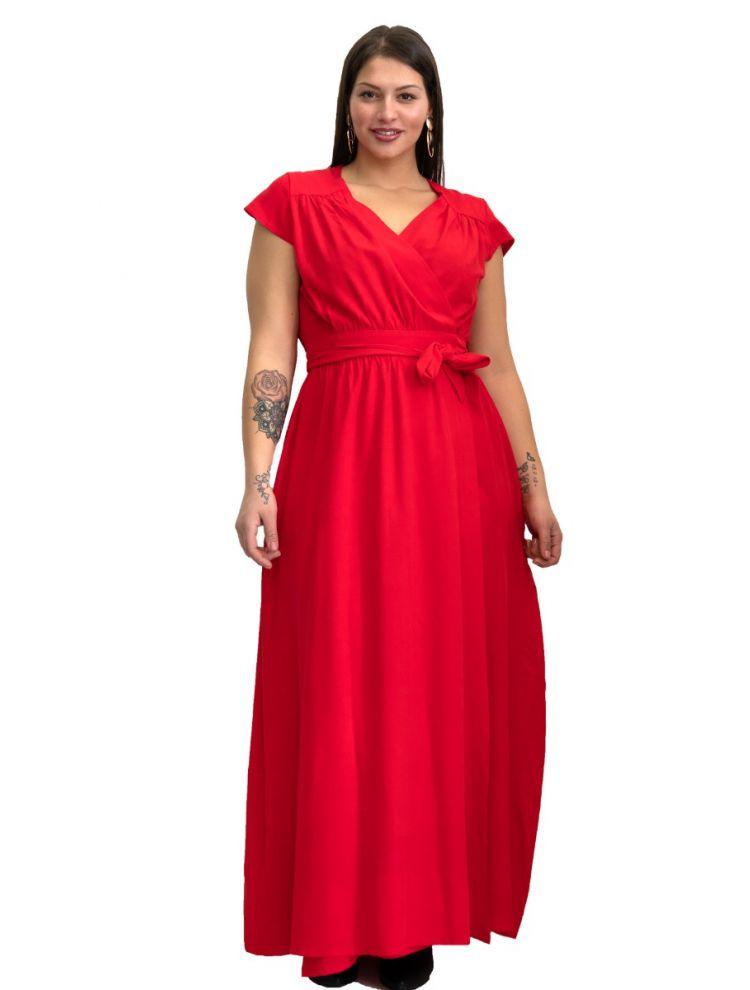 Maxi Μονόχρωμο wrap φόρεμα