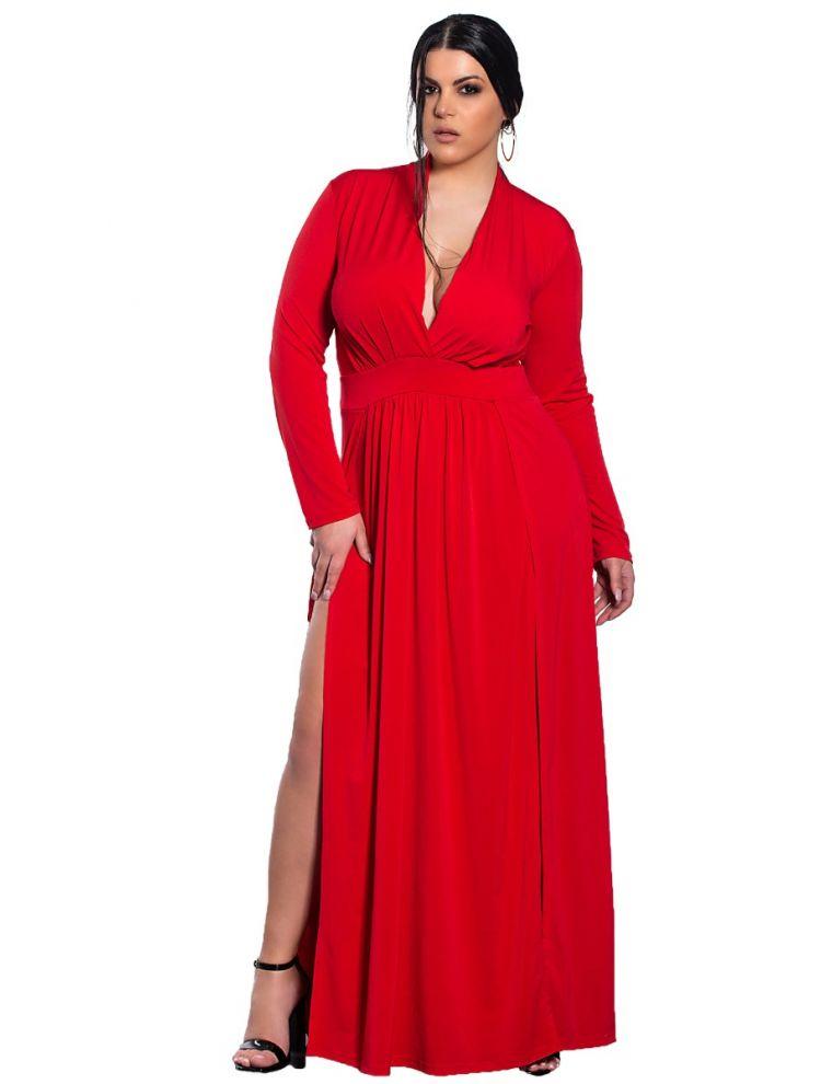 Maxi μονόχρωμο φόρεμα με άνοιγμα στο πλάι-Κόκκινο-XL/2XL