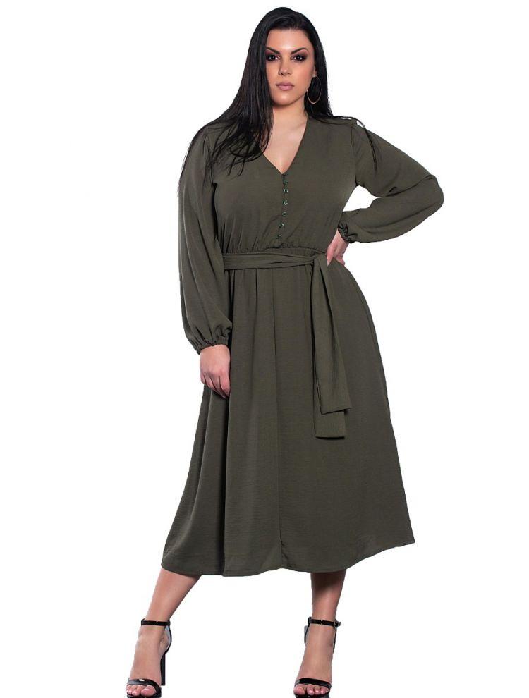 Μονόχρωμο midi φόρεμα με κουμπιά και ζώνη-Χακί-S/M