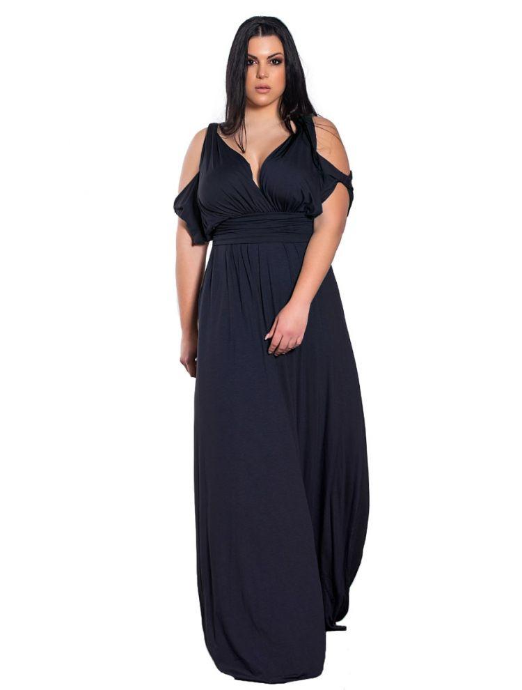 Μονόχρωμο maxi φόρεμα με cut outs στα μανίκια-Navy Μπλε-OneSize(up to 2XL)