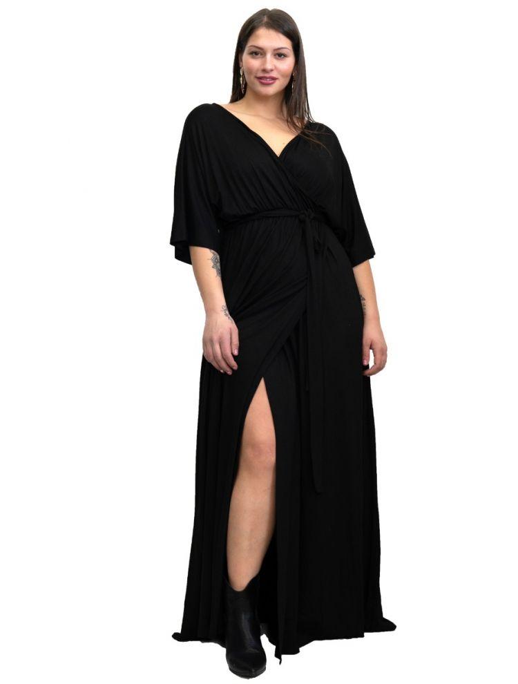 Maxi μονόχρωμο wrap φόρεμα με σκίσιμο
