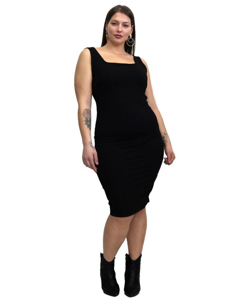 Μονόχρωμο φόρεμα με ανοιχτή πλάτη-Μαύρο-S/M