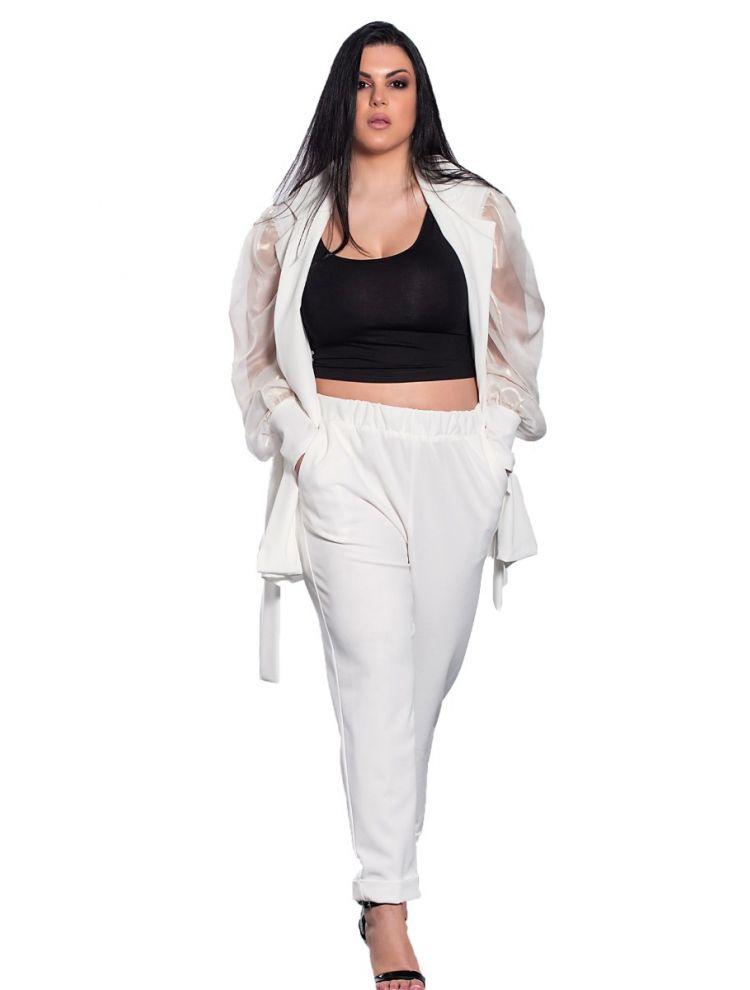 Μονόχρωμο σετ παντελόνι-σακάκι οργάντζα