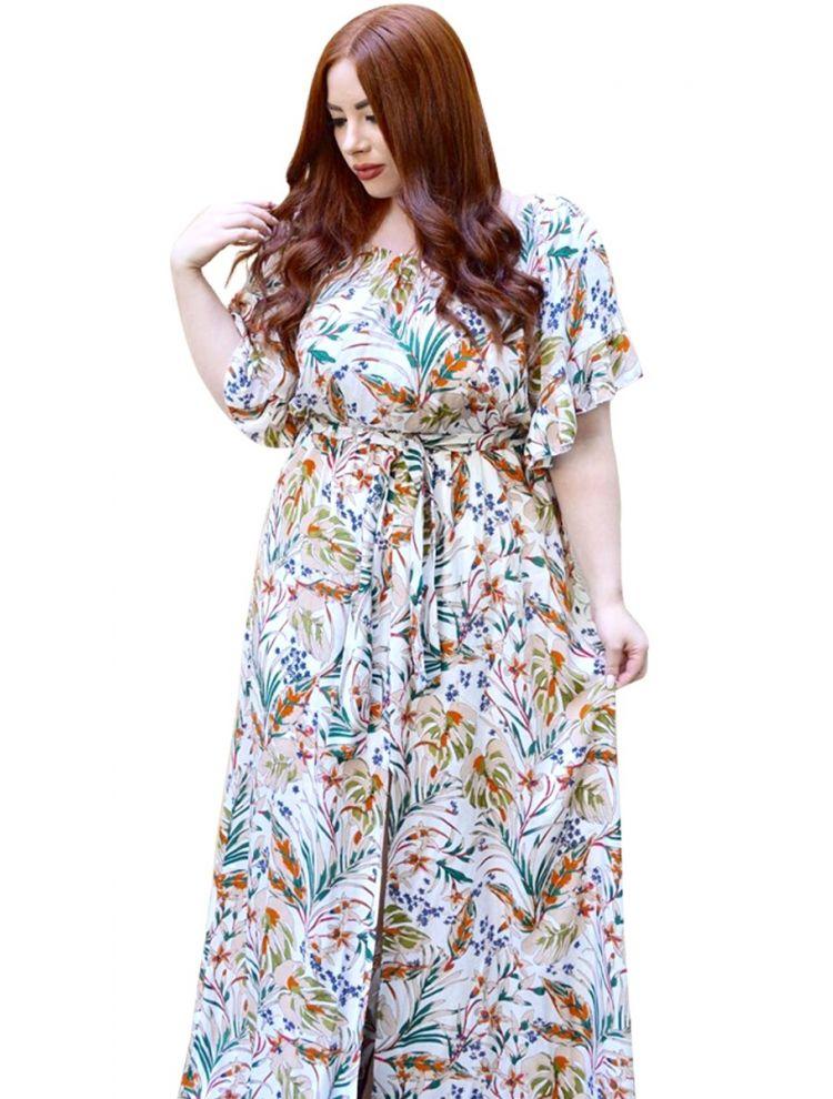Μάξι Floral Bardot Φόρεμα Aida-S/M-Άσπρο