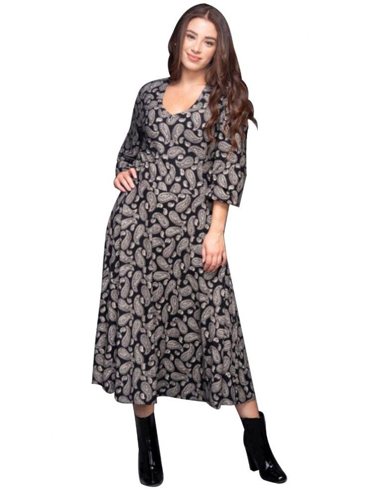 Midi Εμπριμέ Φόρεμα-S/M-Μαύρο