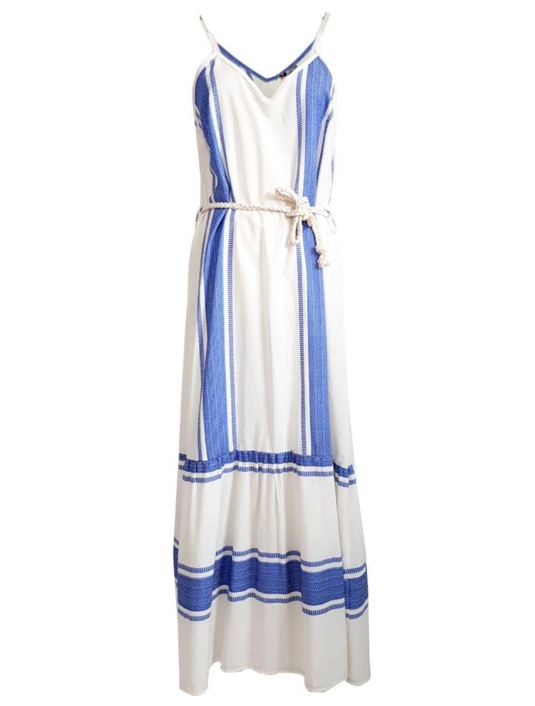 Boho Ριγέ Τιραντάκι Φόρεμα-Μπλε-S/M