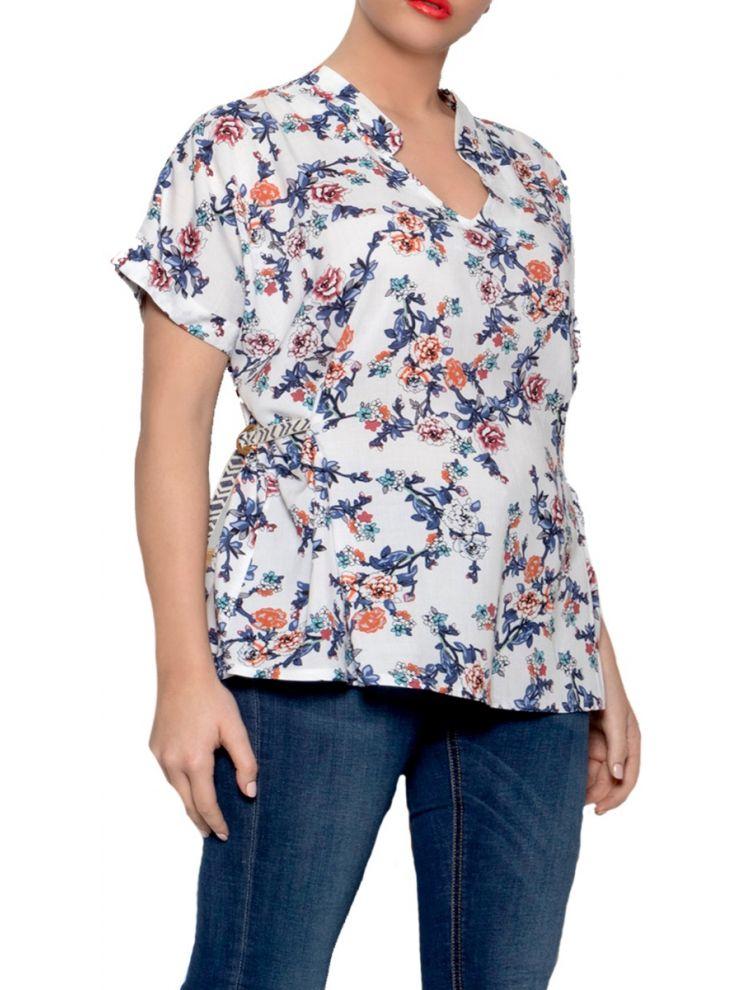 Μπλούζα φλοράλ κοντομάνικη-Άσπρο-L/XL
