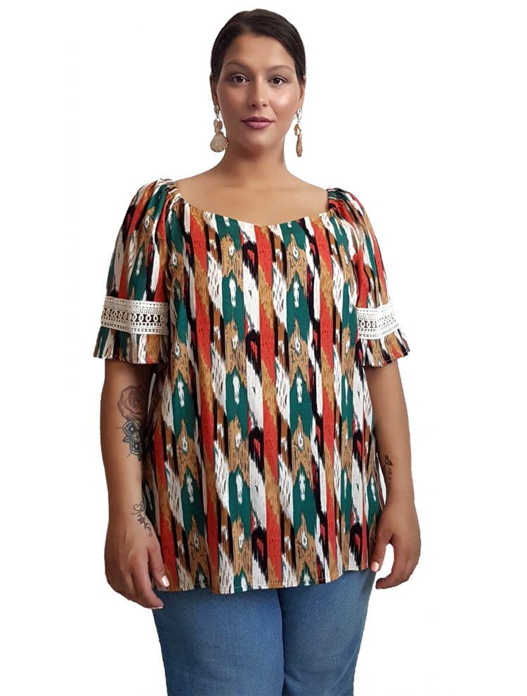 Πολύχρωμη μπλούζα με σχέδιο δαντέλα-OneSize(up to 2XL)-Πορτοκάλι