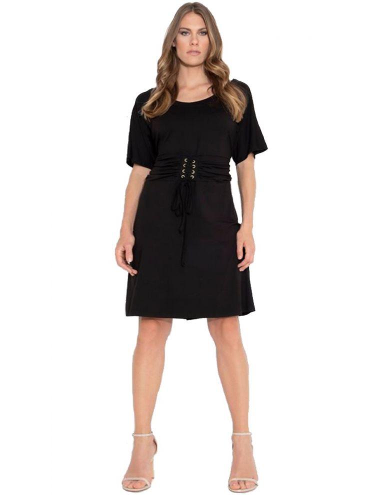 Μίντι Φόρεμα με κορσέ στη μέση-Μαύρο-S/M