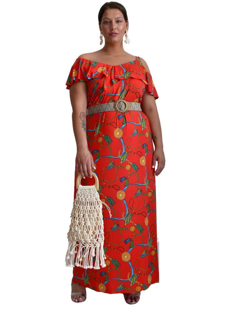 Έξωμο Σατινέ Φόρεμα με σχέδιο φλουριά-S/M-Κόκκινο