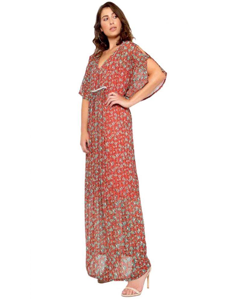 Maxi Φλοράλ Φόρεμα με Cut-Out στο Μανίκι