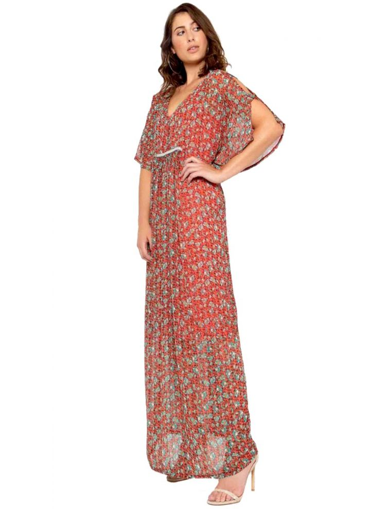 Maxi Φλοράλ Φόρεμα με Cut-Out στο Μανίκι-S/M