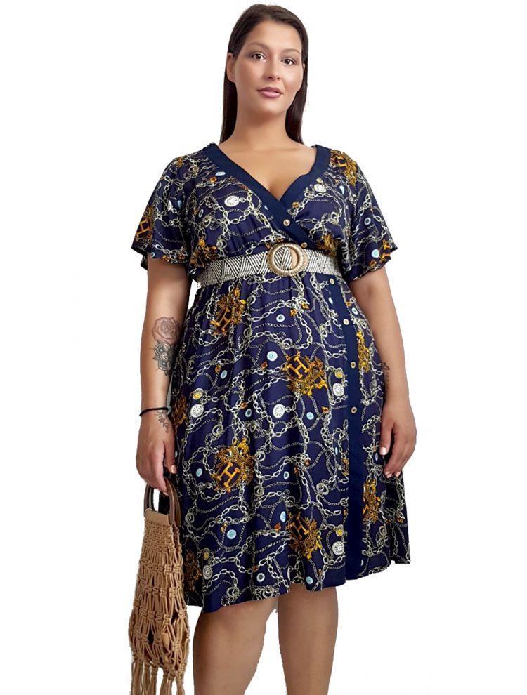 Μίντι Φόρεμα με αλυσίδες και κουμπάκια-S/M-Μπλε