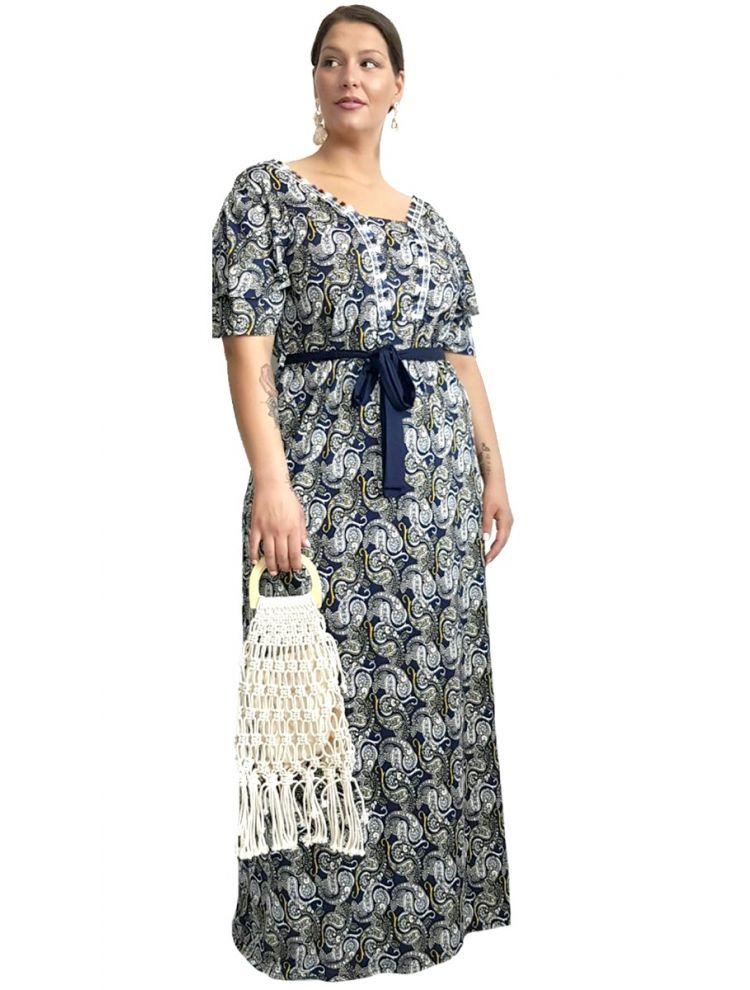Μάξι φόρεμα AMALIA-M/L-Μπλε