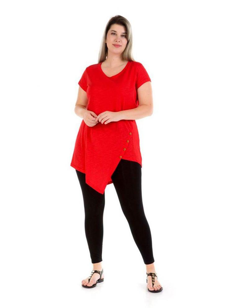 Ασύμμετρη Μπλούζα με κουμπιά -Κόκκινο-S/M