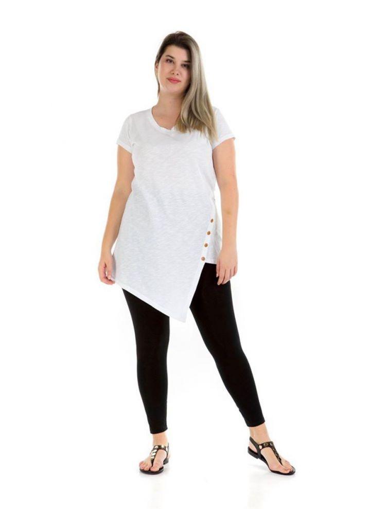 Ασύμμετρη Μπλούζα με κουμπιά -Άσπρο-S/M