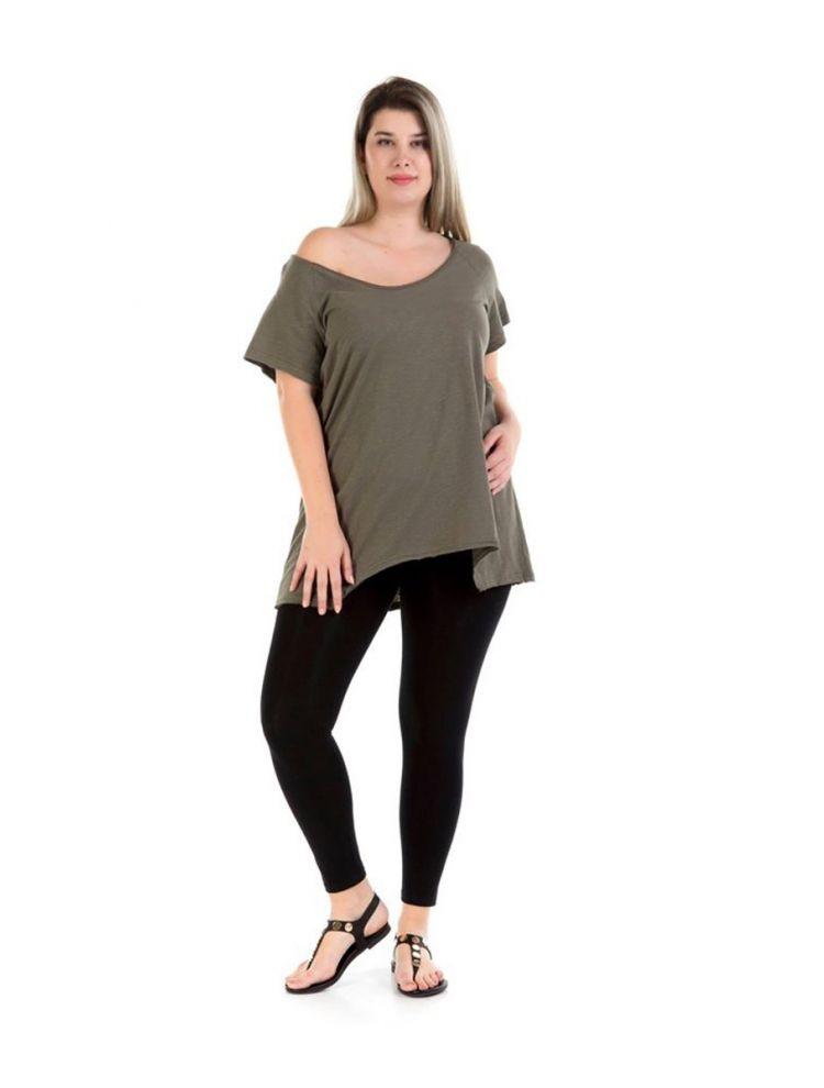Μακριά μπλούζα Véro-Χακί-S/M
