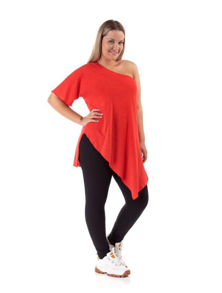 Μονόχρωμη ασύμμετρη μπλούζα με έναν ώμο-Κόκκινο-OneSize(up to 2XL)