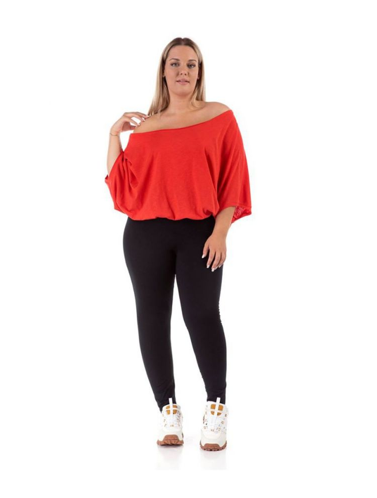 Μονόχρωμη μπλούζα Shaya-Κόκκινο-OneSize(up to 2XL)