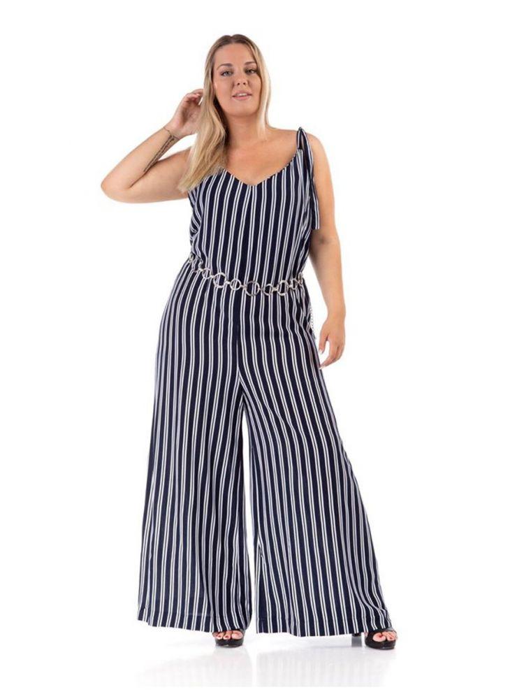 Ολόσωμη ριγέ φόρμα με δέσιμο στους ώμους-Μπλε-L/XL