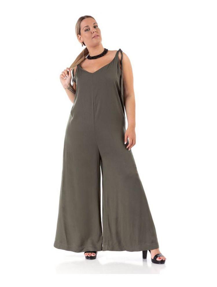 Μονόχρωμη ολόσωμη φόρμα με δέσιμο στους ώμους-Χακί-L/XL