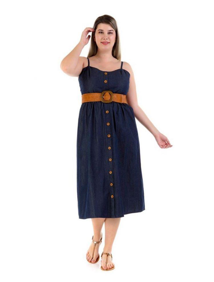 Φόρεμα με κουμπιά Olympie-Μπλε-S/M