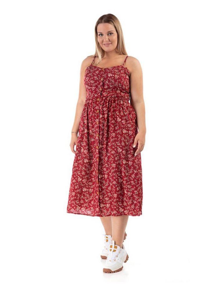 Midi φλοράλ φόρεμα Katrin-Κόκκινο-L/XL