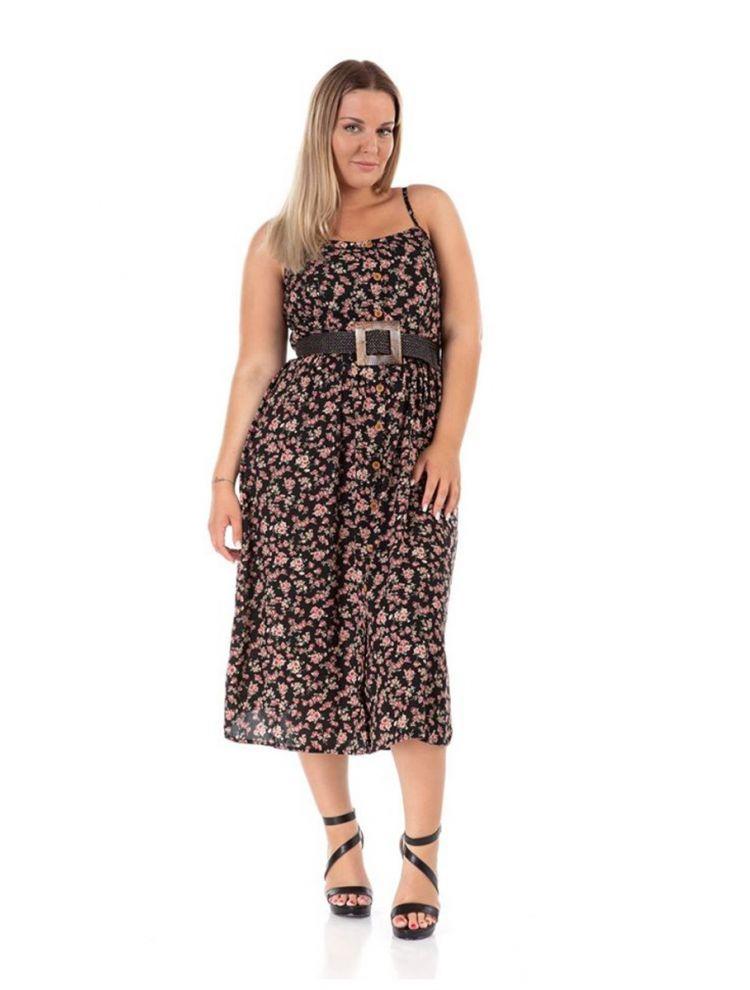 Midi φλοράλ φόρεμα Katrin-Μαύρο-L/XL