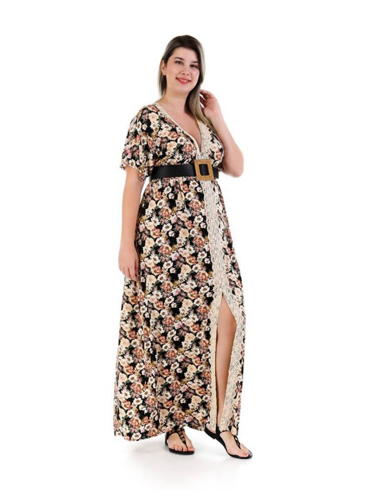 Μάξι φόρεμα φλοράλ με άνοιγμα Diane