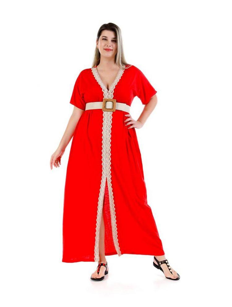 Μάξι φόρεμα με άνοιγμα Diane-Κόκκινο-S/M