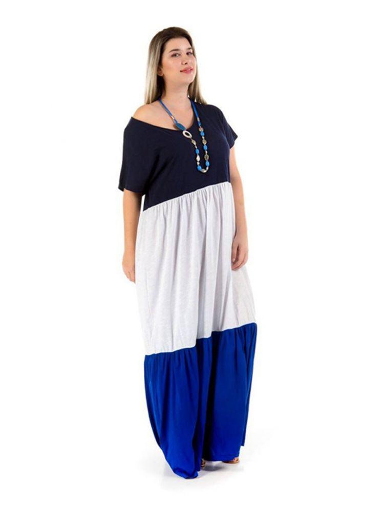 Μάξι φόρεμα τριών χρωμάτων με μανίκια-Μπλε-S/M