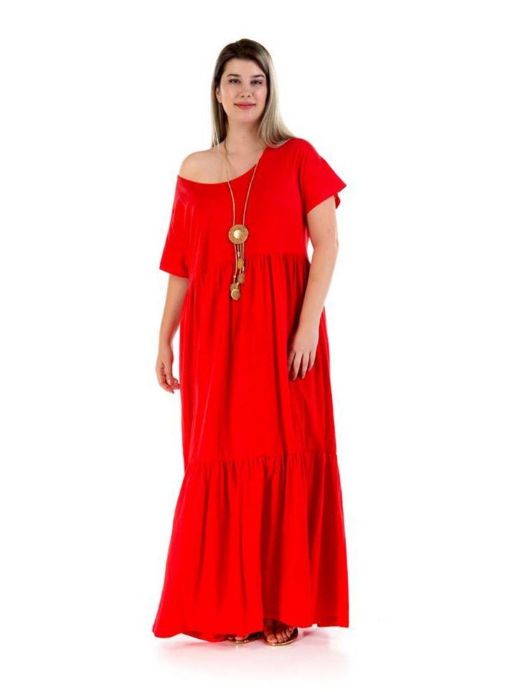 Μάξι φόρεμα με ανοιχτό ώμο Thalie-Κόκκινο-S/M
