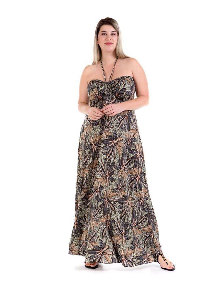 Μάξι στράπλες φόρεμα με καλοκαιρινά print