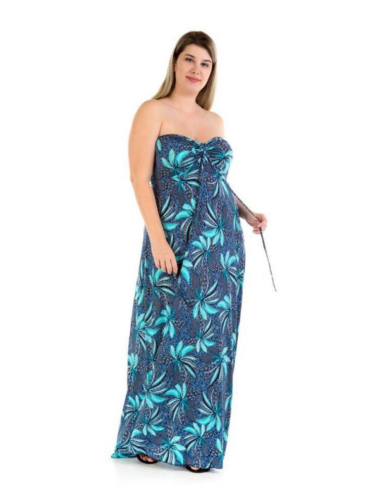 Μάξι στράπλες φόρεμα με καλοκαιρινά print -Μπλε-S/M