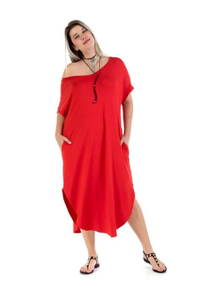 Φόρεμα με ανοιχτό ώμο Louise-Κόκκινο-S/M