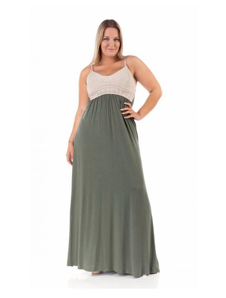 Μάξι φόρεμα Amely-Χακί-XL/2XL