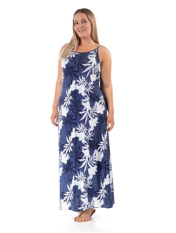 Μάξι φλοράλ φορεμα Dorina-Μπλε-XL/2XL