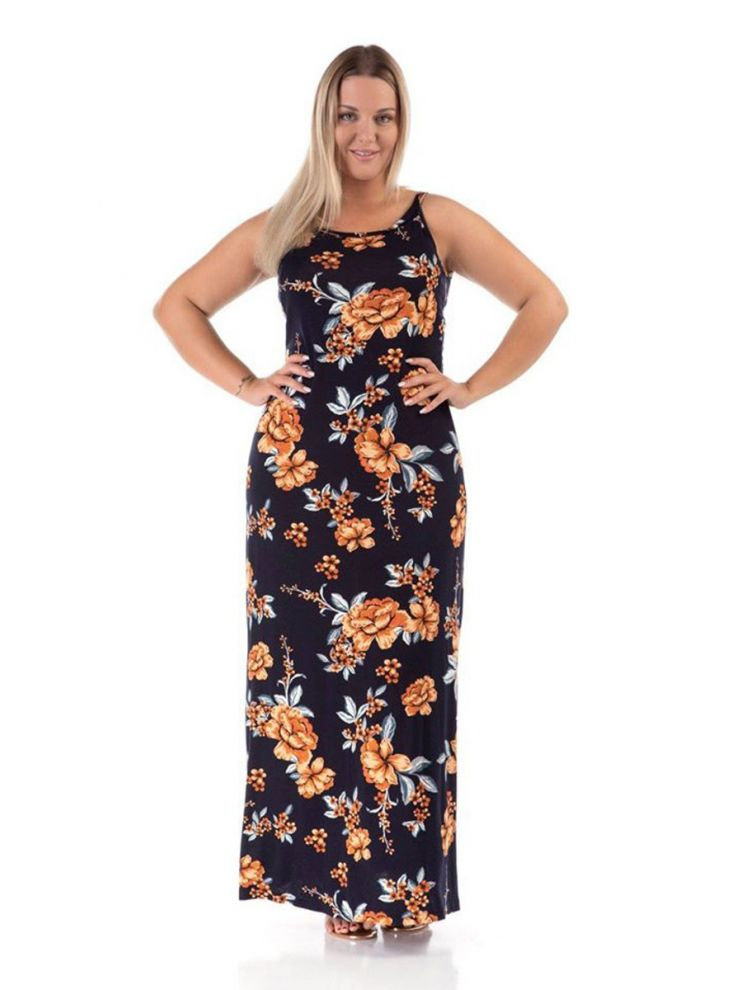 Μάξι φλοράλ φορεμα Dorina-Μαύρο-XL/2XL