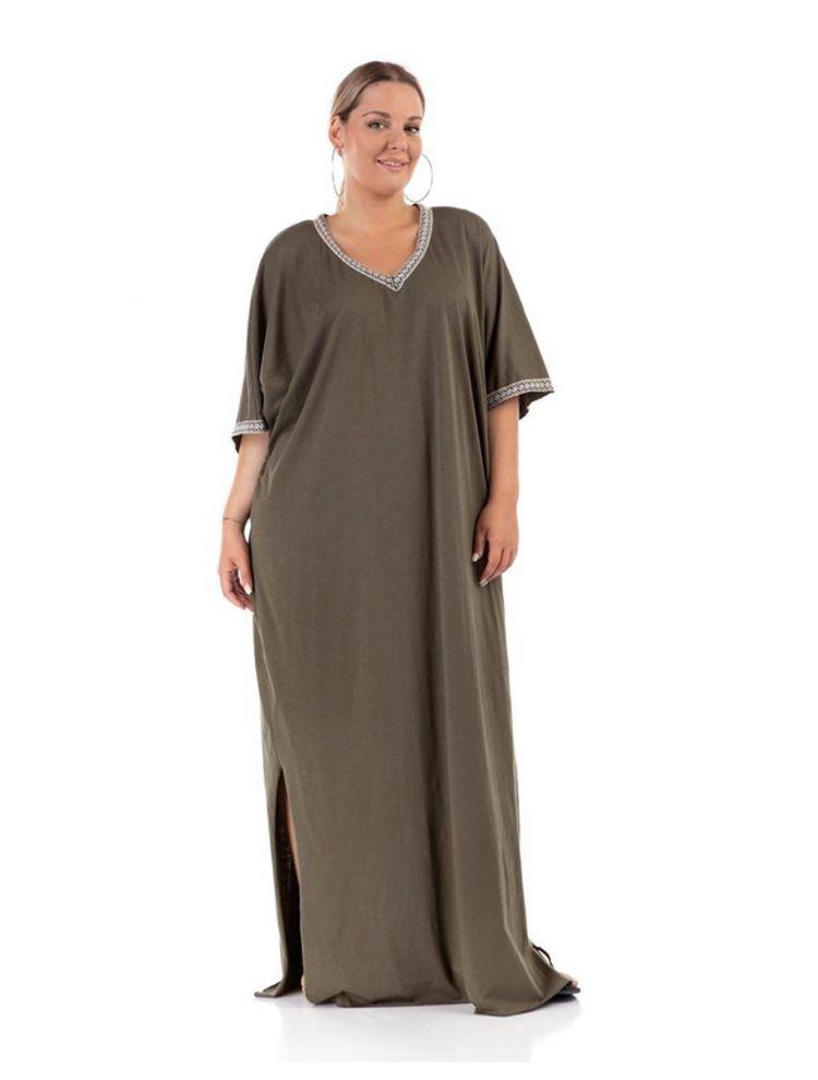 Μάξι boho μονόχρωμο φόρεμα με σκίσιματα στο πλάι-Χακί-S/M