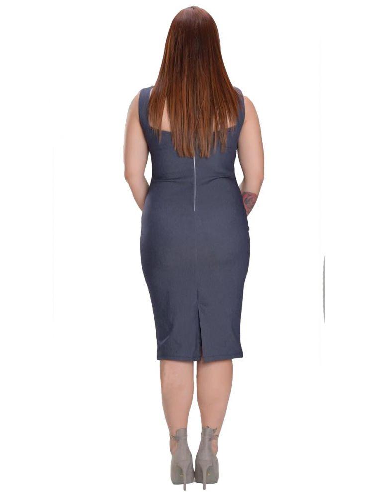 Midi Bodycon φόρεμα Asma-Μπλε-S/M