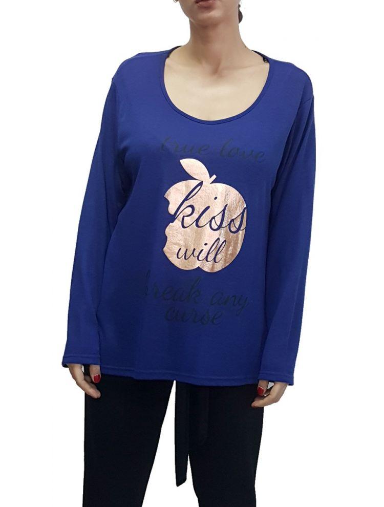 Μπλούζα με Τύπωμα-One Size(up to 2XL)-Μπλε
