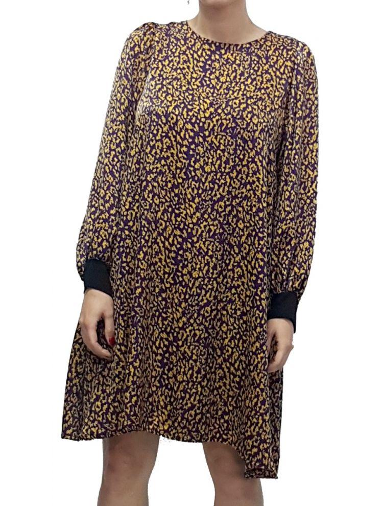 Leopard Φόρεμα με Φάσα στα μανίκια-One Size(up to 2XL)-Μουσταρδί