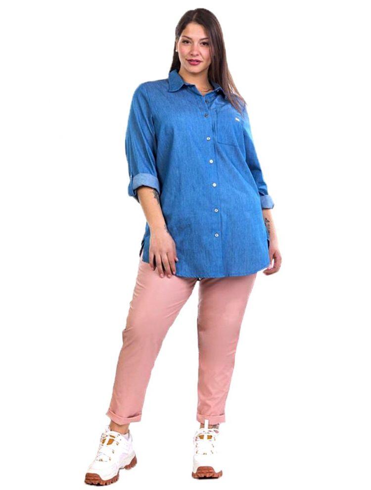 Denim πουκάμισο Sofia-Μπλε-S/M