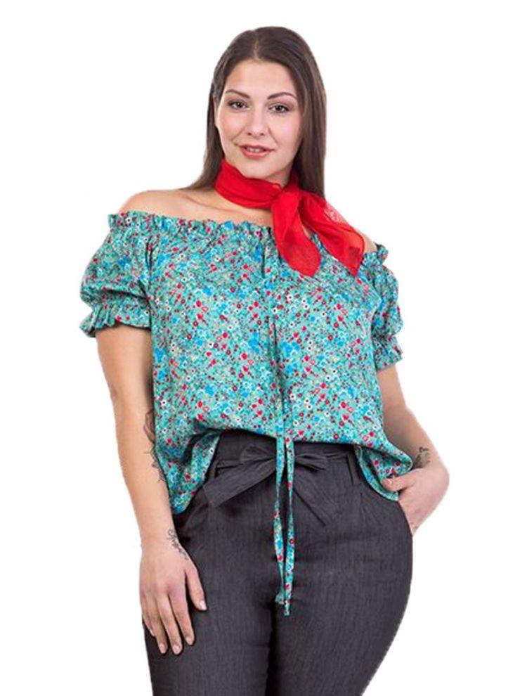 Φλοράλ bardot μπλούζα