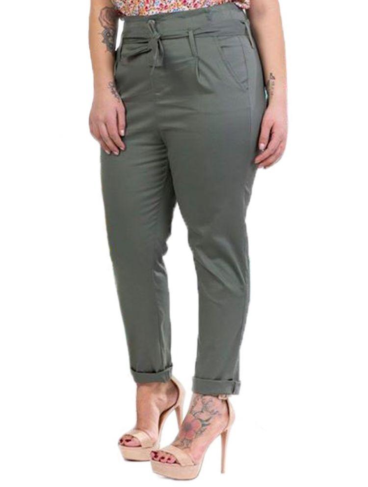 Ψηλόμεσο παντελόνι με ζώνη-S/M-Χακί