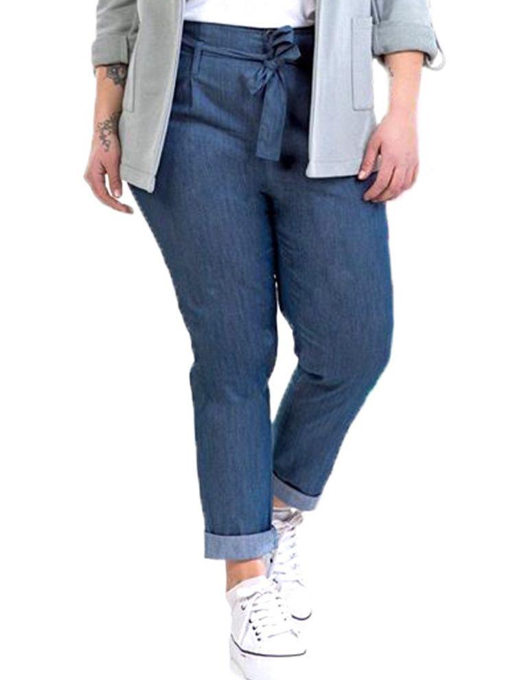 Ψηλόμεσο denim παντελόνι με ζώνη