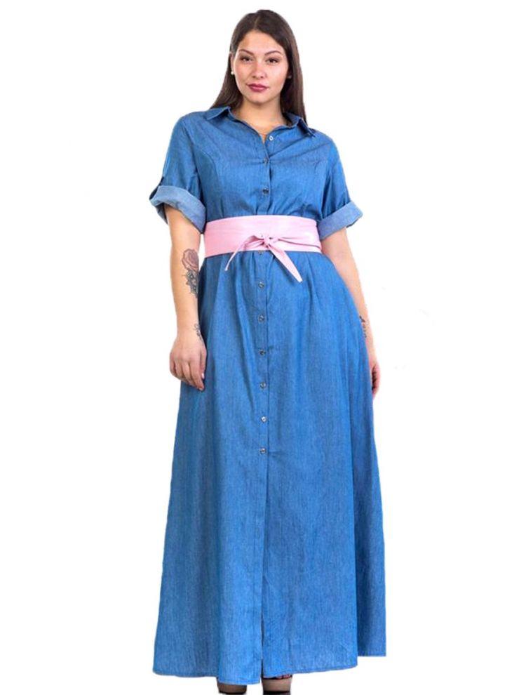 Πουκάμισο-Φόρεμα με Ζώνη-ΝΤΕΝΙΜ-Μπλε-S/M