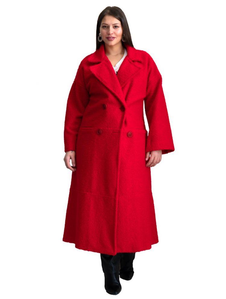 Lux Κόκκινο Μακρύ Μπουκλέ Παλτό με Τσέπες