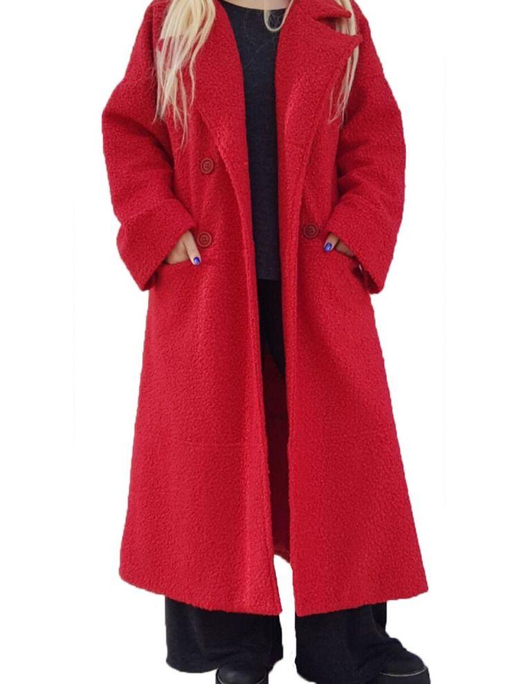 Lux Μπουκλέ Plus Size Παλτό με τσέπες και εσωτερική φόδρα-Κόκκινο